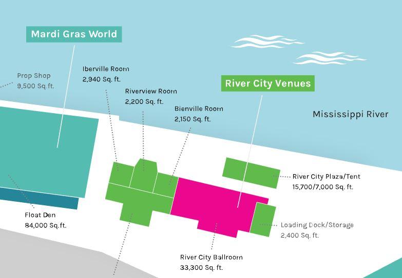 river city venues map